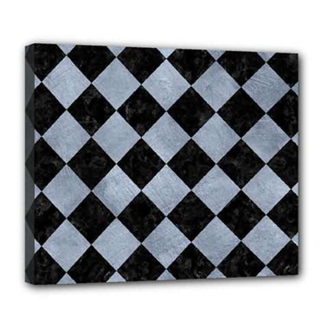 Square2 Black Marble & Silver Paint Deluxe Canvas 24  X 20   by trendistuff