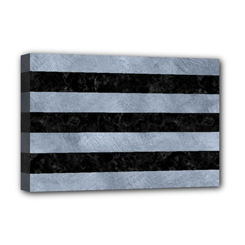 Stripes2 Black Marble & Silver Paint Deluxe Canvas 18  X 12   by trendistuff