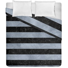 Stripes2 Black Marble & Silver Paint Duvet Cover Double Side (california King Size) by trendistuff