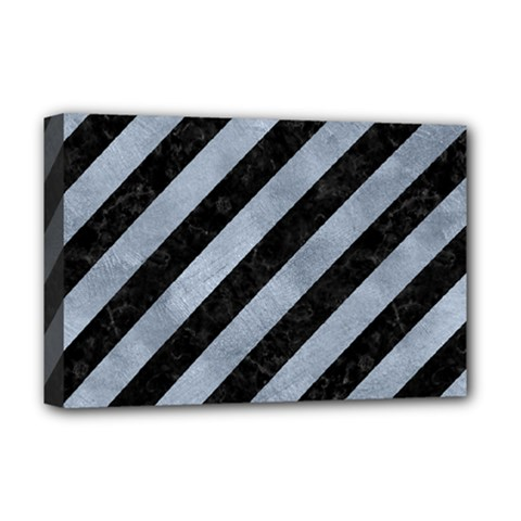Stripes3 Black Marble & Silver Paint (r) Deluxe Canvas 18  X 12   by trendistuff