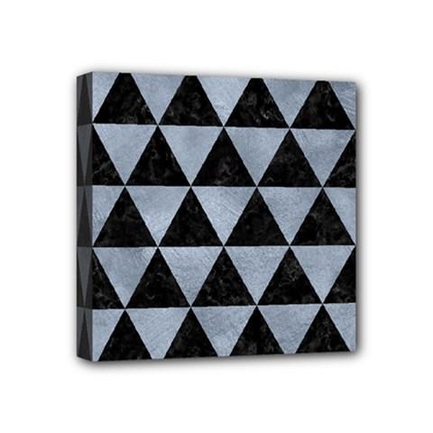 Triangle3 Black Marble & Silver Paint Mini Canvas 4  X 4  by trendistuff