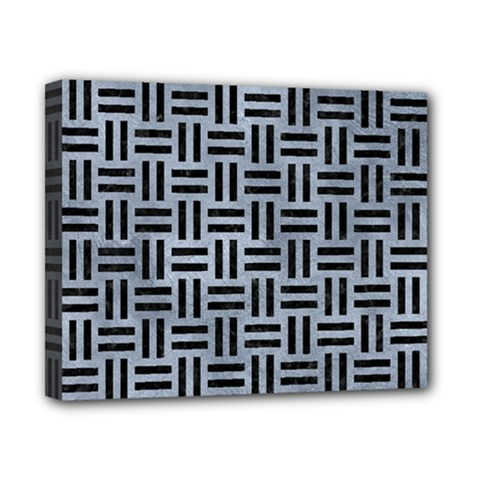 Woven1 Black Marble & Silver Paint Canvas 10  X 8  by trendistuff