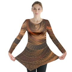 Brown, Bronze, Wicker, And Rattan Fractal Circles Long Sleeve Tunic  by beautifulfractals