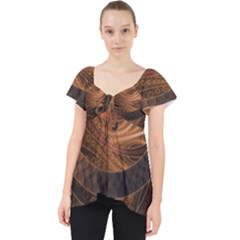Brown, Bronze, Wicker, And Rattan Fractal Circles Lace Front Dolly Top by beautifulfractals