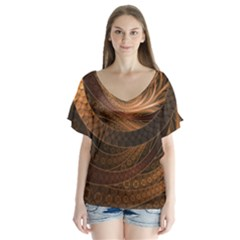 Brown, Bronze, Wicker, And Rattan Fractal Circles V Neck Flutter Sleeve Top by beautifulfractals