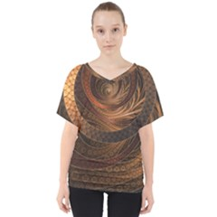 Brown, Bronze, Wicker, And Rattan Fractal Circles V Neck Dolman Drape Top by beautifulfractals