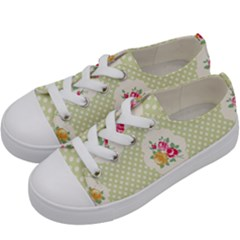 Green Shabby Chic Kids  Low Top Canvas Sneakers by 8fugoso