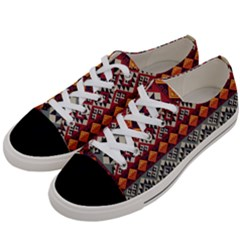Aztec Mayan Inca Pattern 7 Women s Low Top Canvas Sneakers by Cveti