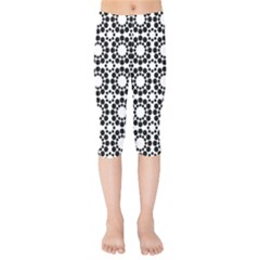 Black White Pattern Seamless Monochrome Kids  Capri Leggings  by Celenk