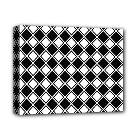 Black White Square Diagonal Pattern Seamless Deluxe Canvas 14  X 11  by Celenk