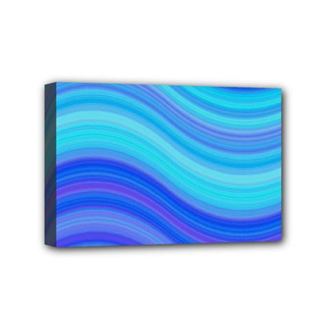 Blue Background Water Design Wave Mini Canvas 6  X 4  by Celenk