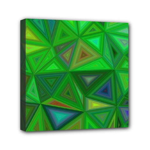 Green Triangle Background Polygon Mini Canvas 6  X 6  by Celenk