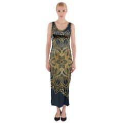 Gold Mandala Floral Ornament Ethnic Fitted Maxi Dress by Celenk