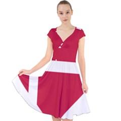 Heart Love Flag Denmark Red Cross Cap Sleeve Front Wrap Midi Dress