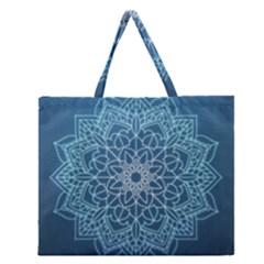 Mandala Floral Ornament Pattern Zipper Large Tote Bag by Celenk