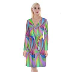Spiral Background Design Swirl Long Sleeve Velvet Front Wrap Dress