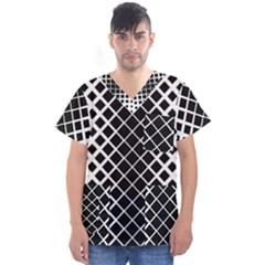Square Diagonal Pattern Monochrome Men s V Neck Scrub Top
