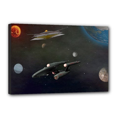 Space Travel Spaceship Space Canvas 18  X 12  by Celenk