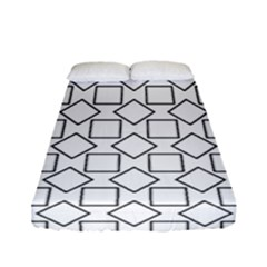 Square Line Stripe Pattern Fitted Sheet (full/ Double Size) by Celenk