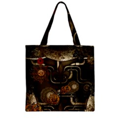 Wonderful Noble Steampunk Design, Clocks And Gears And Butterflies Zipper Grocery Tote Bag by FantasyWorld7