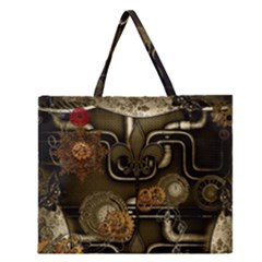 Wonderful Noble Steampunk Design, Clocks And Gears And Butterflies Zipper Large Tote Bag by FantasyWorld7