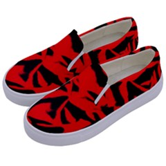 Red Black Retro Pattern Kids  Canvas Slip Ons by Costasonlineshop