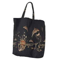 Wonderful Dolphins And Flowers, Golden Colors Giant Grocery Zipper Tote by FantasyWorld7