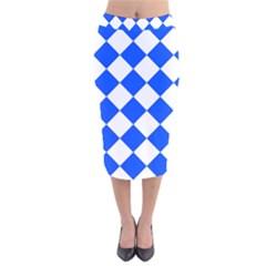 Blue White Diamonds Seamless Velvet Midi Pencil Skirt