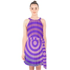 Circle Target Focus Concentric Halter Collar Waist Tie Chiffon Dress