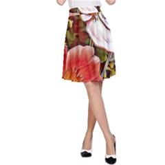 Flower Hostanamone Drawing Plant A Line Skirt by Celenk