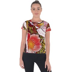 Flower Hostanamone Drawing Plant Short Sleeve Sports Top  by Celenk