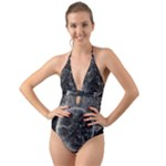 Space Universe Earth Rocket Halter Cut-Out One Piece Swimsuit