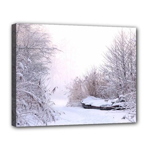 Winter Snow Ice Freezing Frozen Canvas 14  X 11  by Celenk