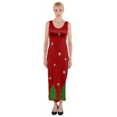 Christmas Pattern Fitted Maxi Dress by Valentinaart