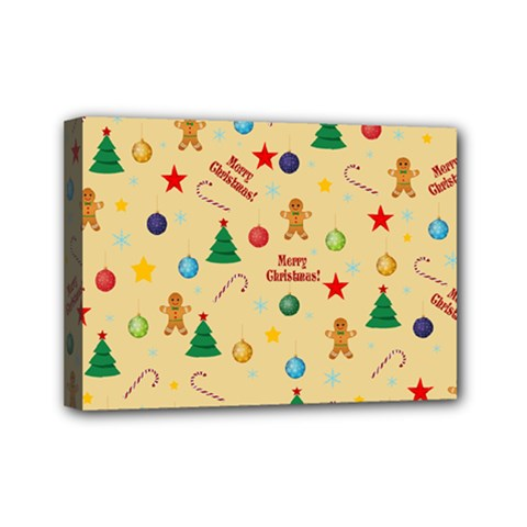 Christmas Pattern Mini Canvas 7  X 5  by Valentinaart