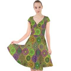 Bohemian Hand Drawing Patterns Green 01 Cap Sleeve Front Wrap Midi Dress