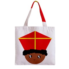 Cutieful Kids Art Funny Zwarte Piet Friend Of St  Nicholas Wearing His Miter Zipper Grocery Tote Bag by yoursparklingshop