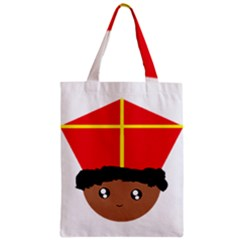 Cutieful Kids Art Funny Zwarte Piet Friend Of St  Nicholas Wearing His Miter Zipper Classic Tote Bag by yoursparklingshop