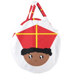 Cutieful Kids Art Funny Zwarte Piet Friend Of St  Nicholas Wearing His Miter Giant Round Zipper Tote by yoursparklingshop