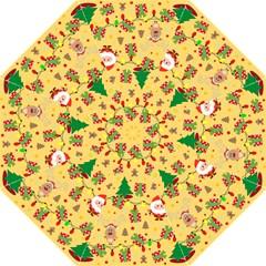 Santa And Rudolph Pattern Hook Handle Umbrellas (large) by Valentinaart