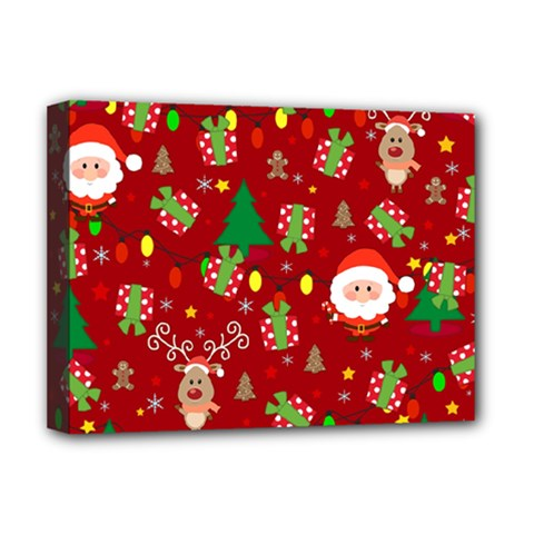 Santa And Rudolph Pattern Deluxe Canvas 16  X 12   by Valentinaart