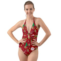 Santa And Rudolph Pattern Halter Cut Out One Piece Swimsuit