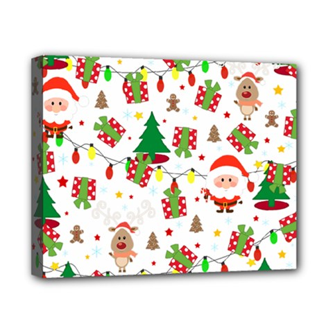 Santa And Rudolph Pattern Canvas 10  X 8  by Valentinaart