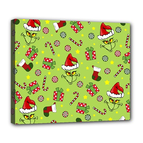 Grinch Pattern Deluxe Canvas 24  X 20   by Valentinaart