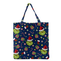 Grinch Pattern Grocery Tote Bag by Valentinaart