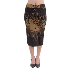 The Sign Ying And Yang With Floral Elements Midi Pencil Skirt by FantasyWorld7