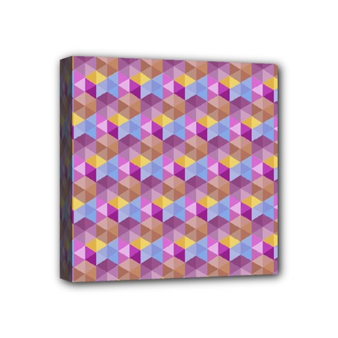 Hexagon Cube Bee Cell Pink Pattern Mini Canvas 4  X 4  by Cveti