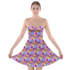 Hexagon Cube Bee Cell Pink Pattern Strapless Bra Top Dress by Cveti