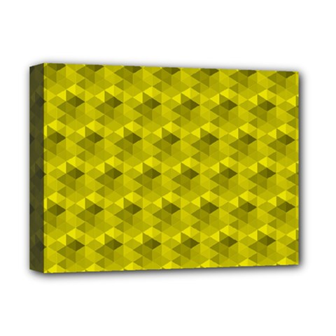Hexagon Cube Bee Cell  Lemon Pattern Deluxe Canvas 16  X 12   by Cveti