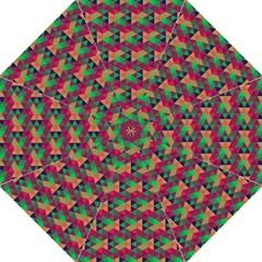 Hexagon Cube Bee Cell Pink Pattern Golf Umbrellas by Cveti